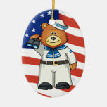 Military Bears Double-Sided Oval Ceramic Christmas Ornament