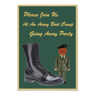 "Military Boot Camp Going Away Invitations 3.5"" X 5"" Invitation Card"