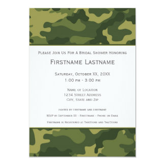 """Military Camo Bridal Shower or Engagement Party 5"""" X 7"""" Invitation Card"""