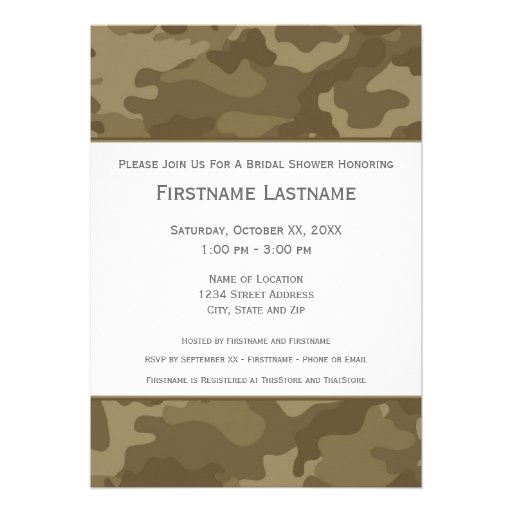Military Camo Bridal Shower or Engagement Party Custom Invitations