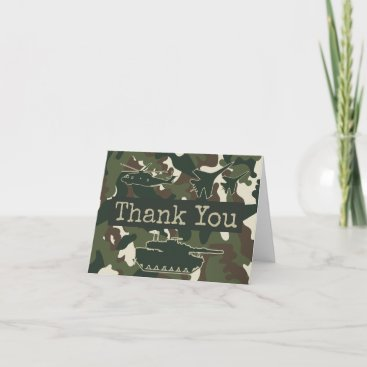Military Camo Folded Thank You Note Cards