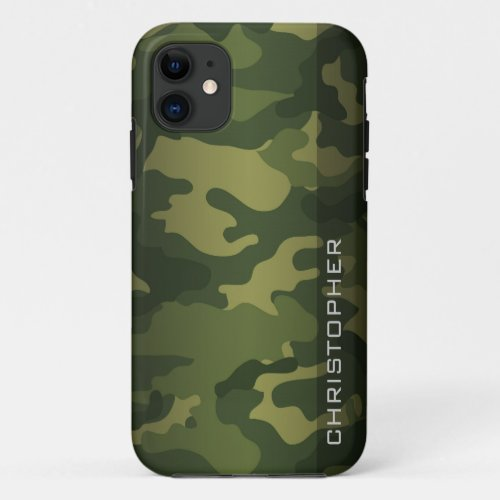Military Camo Pattern Green with name Phone Case