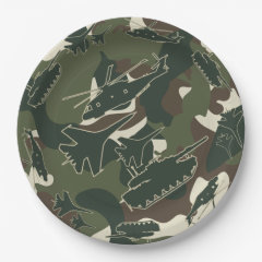 Military Camouflage Army Camo Disposable Paper Plates for Birthday or Retirement Party
