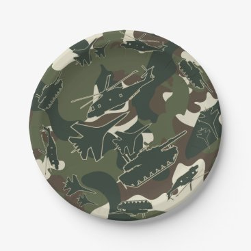Military Camouflage Army Tank Jet Party Plates