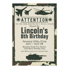 Military Camouflage Personalized Birthday Party Army Invitations for Boys