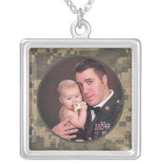 Military Camouflage Custom Photo Square Silver Plated Necklace
