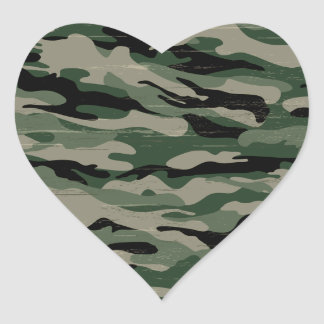 Military camouflage design heart sticker