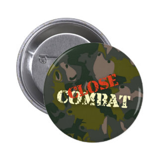 Military camouflage for soldier: close combat war button