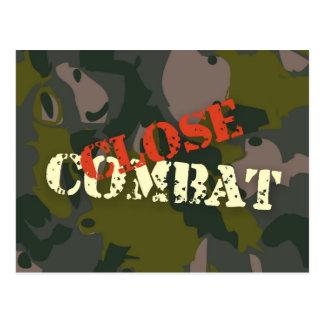 Military camouflage for soldier: close combat war postcard