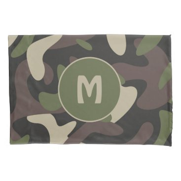 Military Camouflage Green Brown Pattern Monogram Pillow Case