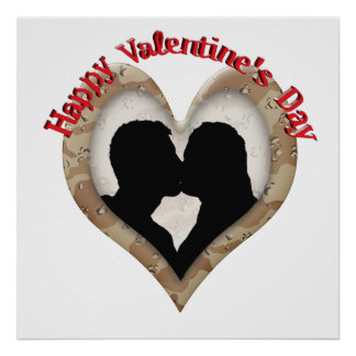Military Camouflage Happy Valentine's Day Poster