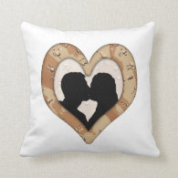 Military Camouflage Heart Couple Silhouette Pillows