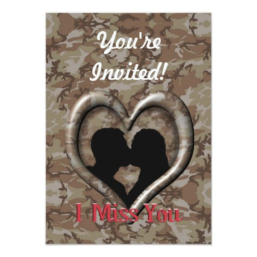 """Military Camouflage """"Miss You"""" 5x7 Paper Invitation Card"""