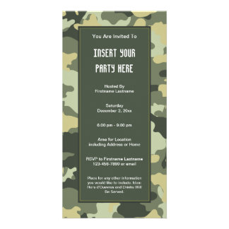 Military Camouflage Party  Invitation Photo Card