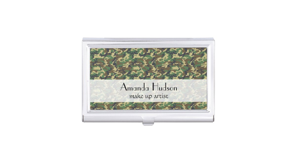 Military Camouflage Pattern - Brown Yellow Green Business Card Holder