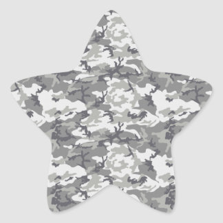 Military Camouflage Pattern - Gray White Star Sticker