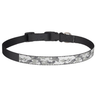 Military Camouflage Pattern - Gray White Dog Collar