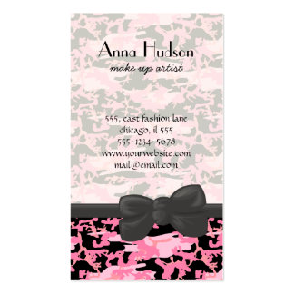 Military Camouflage Pattern - Pink Black Double-Sided Standard Business Cards (Pack Of 100)