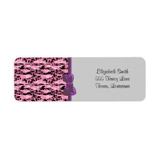 Military Camouflage Pattern - Pink Black Return Address Label