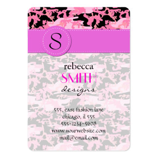 Military Camouflage Pattern - Pink Black Large Business Card