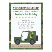 Military Camouflage Pattern Soldier Boy Birthday Invitation