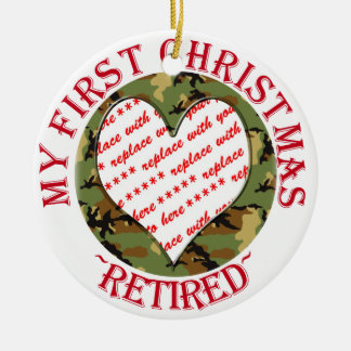 Military Camouflage Retired Christmas Photo Frame Ceramic Ornament