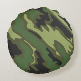 Military Camouflage Round Pillow