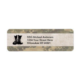 Military Camouflage with Army Combat Boots Custom Label