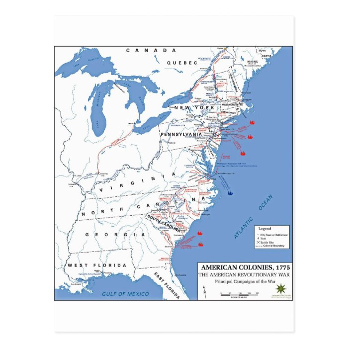 Military Campaigns of the American Revolution Postcard