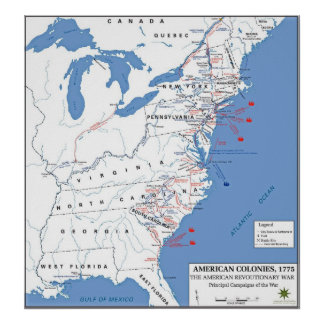 Military Campaigns of the American Revolution Poster