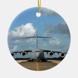 Military cargo plane landing Double-Sided ceramic round christmas ornament