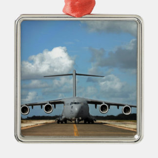 Military cargo plane landing metal ornament