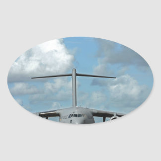 Military cargo plane landing oval sticker