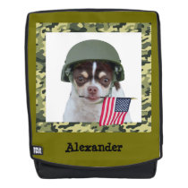 Military Chihuahua dog boldface backpack