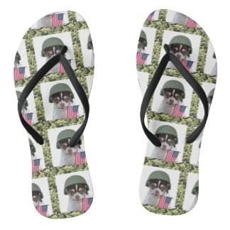 Military chihuahua dog flip flops