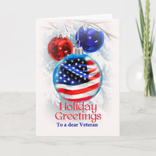 8ab12b442190 Military Christmas American Flag to Veterans Holiday Card