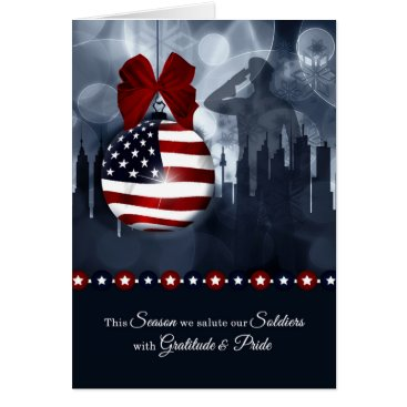 USA Themed Military Christmas - American Flag with Soldier Card
