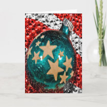 Military Christmas Patriotic Ornament Stars Stripe Holiday Card