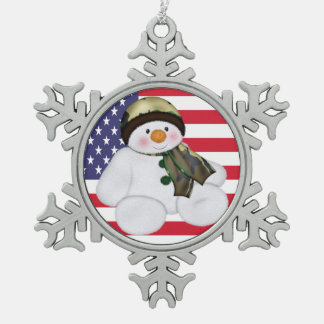 Military Christmas Snowman And USA Flag Snowflake Pewter Christmas Ornament
