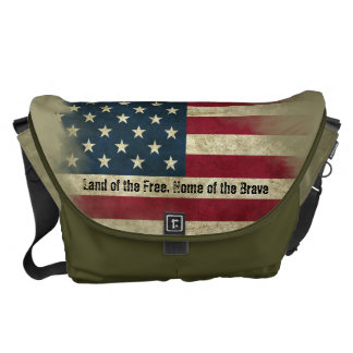 Military Colors US Flag. Home of the Brave Messenger Bag