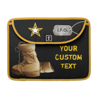 Military Combat Boots Star & Monogrammed Dog Tags Sleeve For MacBooks