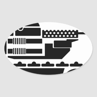 Military Combat remote controlled Robot Oval Sticker