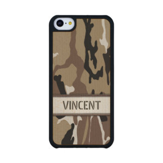 Military Desert Camo Name Template Carved® Maple iPhone 5C Case