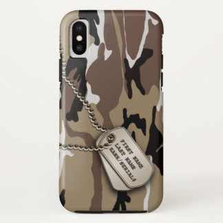 Military Desert Camo w/ Dog Tag iPhone X Case
