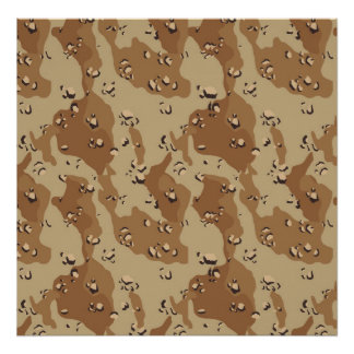 Military Desert Camouflage Background Poster