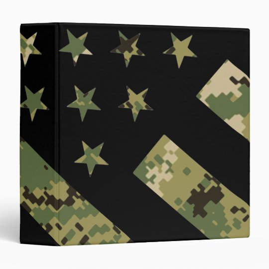 Military Digital Camouflage US Flag 3 Ring Binder