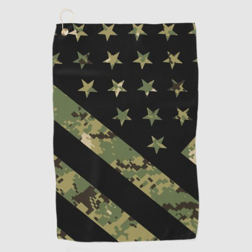 Military Digital Camouflage US Flag Golf Towel