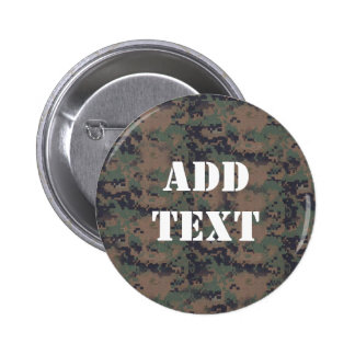 Military Digital Woodland Background Pinback Buttons