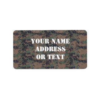 Military Digital Woodland Background Label