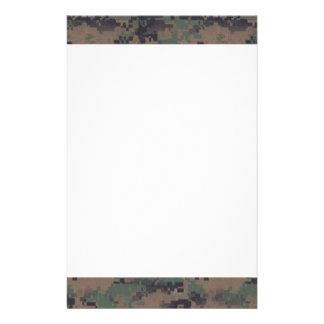 Military Digital Woodland Background Stationery Design